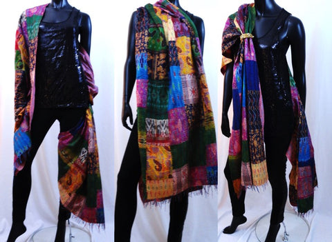 indian silk shawl patchwork pink blue red yellow orange artikrti