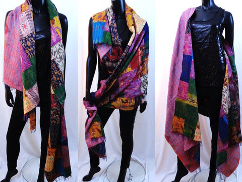 silk shawl indian patchwork scarf stole artikrti10