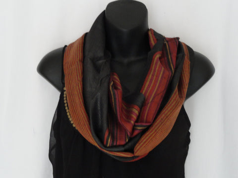 Indian Silk wool shawl. Ethnic winter scarf, red rust black shawl. Indian stripes winter shawl. Ethnic infinity scarf. From Artikrti