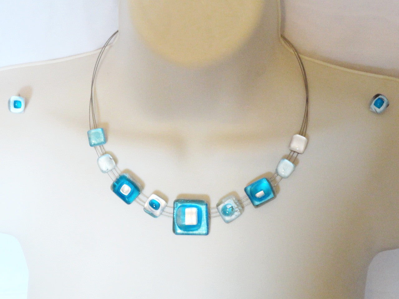 Fresh Pure Silver and crystal statement necklace. Ethnic necklace, ear  QC08