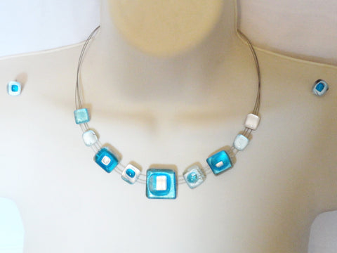 Pure Silver and crystal statement necklace. Ethnic necklace, ear rings. Gold & Glass Indian Jewelry. Turquoise necklace. Indian necklace. From Artikrti.