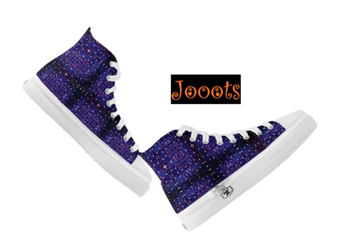 Women's printed canvas shoes or high tops. Ethnic Indian design sneakers or keds. Purple- Petunia Nite. Jooots from Artikrti