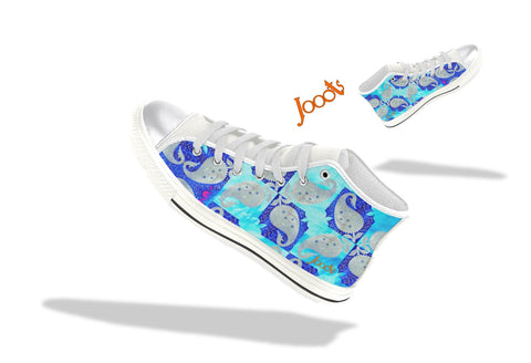 High tops for college girls. Keds turquoise blue. Indian design. Mango Mosaic . Jooots from Artikrti