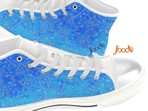"Cute sneakers with ethnic Indian henna designs. Unique keds, sneakers for girls- sky blue. ""Cupid's Arrow"". Jooots from Artikrti"