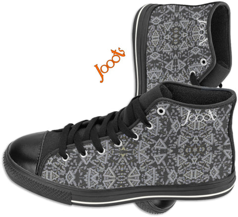"Cool high tops with ethnic Indian henna designs. Unique keds, sneakers for girls- black. ""Cupid's Arrow"". Jooots from Artikrti"