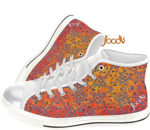 "Cute sneakers with ethnic Indian henna designs. Unique keds, sneakers for girls- orange. ""Cupid's Arrow"". Jooots from Artikrti"