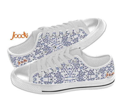 Street and party sneakers for college girls. Ethnic keds. henna tattoo style design low tops. Cupid's Arrow- White. Jooots from Artikrti