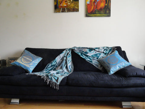 Indian sofa throw cotton silk, ethnic turquoise blue artikrti th1005 1