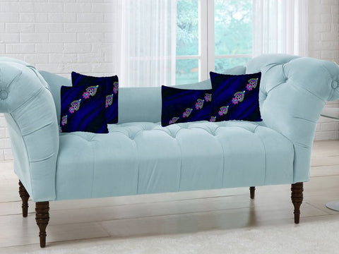 "Living room throw cushion covers-purple, blue. Matching bedroom pillow covers. ""Diwali"" by Artikrti."