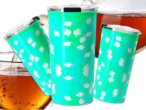 Travel Tea mug- double walled stainless steel.  Green saree Indian design.  Artikrti.
