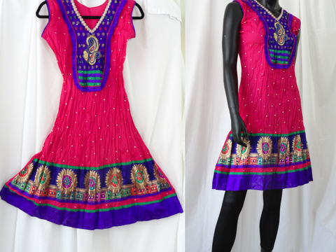 Sleeveless cotton summer dress or top-pink. Soft Cotton dress top with striking embroidered appliqué in violet. Summer boho casual blouse or top. ComfyCottons from Artikrti.