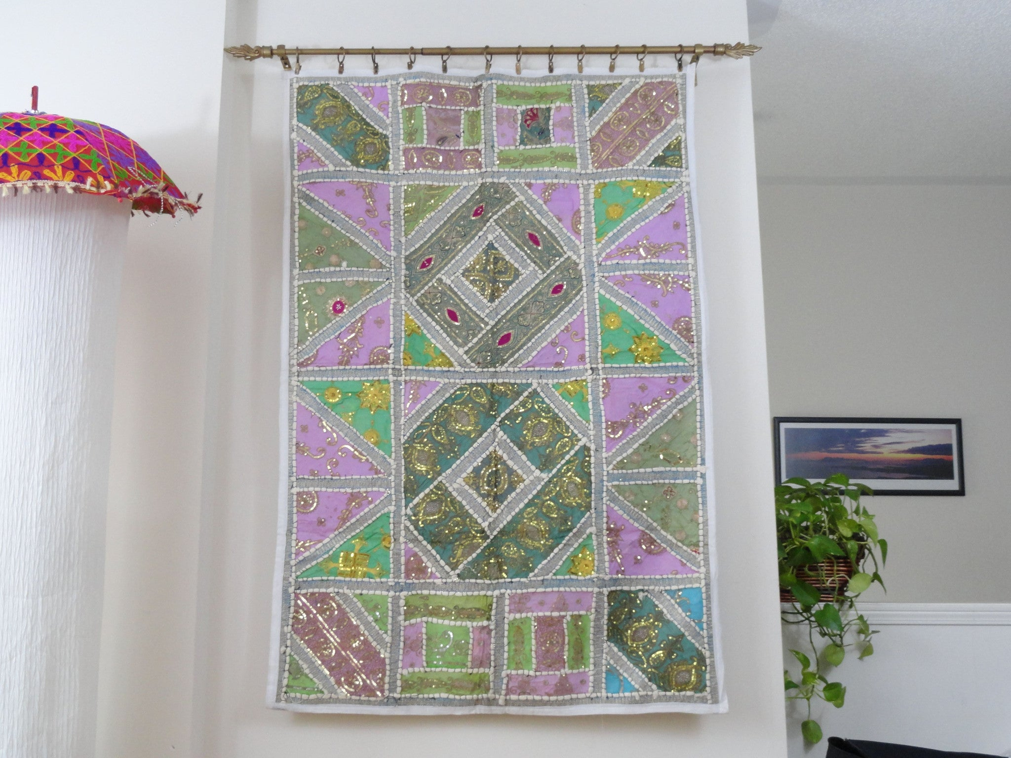 Indian tapestry wall hanging. Fabric Wall Tapestry. Jade  n  Ivory-embroidery and patchwork wall decor. Indian ethnic wall tapestry.  Artikrti 3d5e1a3c5c