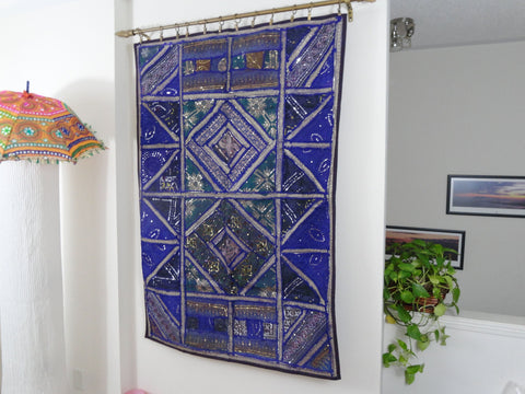 "India's Patchwork Wall Tapestry. ""Violet Petunia""- Fabric Wall Hanging wall decor.  Indian ethnic wall tapestry. Artikrti"
