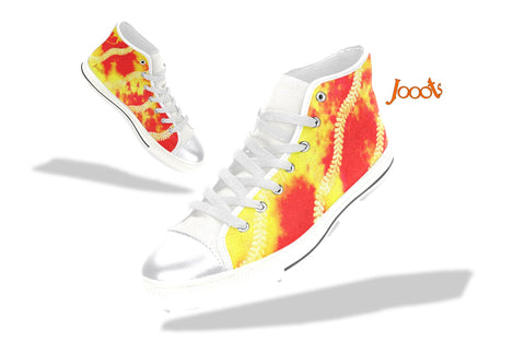 "Multi-colored hi tops for girls. Red yellow keds. Indian design sneakers- ""Holi"" . Jooots from Artikrti"