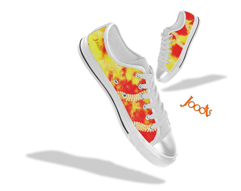 "Colorful sneakers for girls. Low tops red yellow keds. Indian design- ""Holi"" . Jooots from Artikrti"