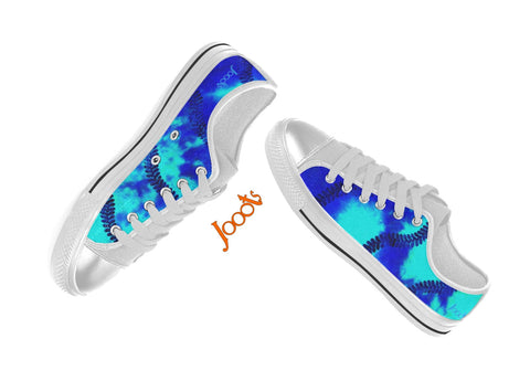 "Colorful keds for girls. Low tops blue turquoise sneakers. Indian design- ""Holi"" . Jooots from Artikrti"