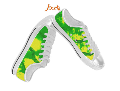 "Colorful keds for women. Low tops neon green yellow sneakers. Indian design- ""Holi"" . Jooots from Artikrti"
