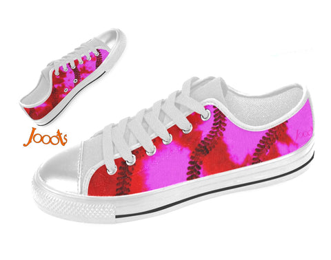 "Women's casual shoes. Low tops sneakers red pink keds. Indian design- ""Holi"" . Jooots from Artikrti"