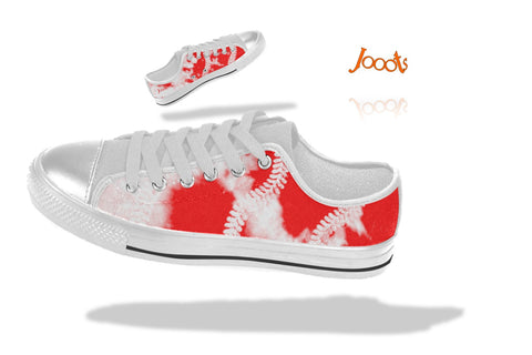 "Girls' casual shoes. Low tops sneakers red white keds. Indian design- ""Holi"" . Jooots from Artikrti"
