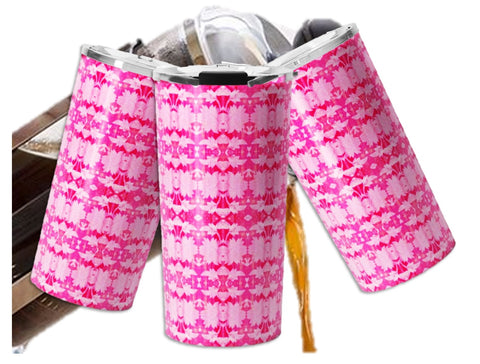 Vacuum insulated Travel mug for coffee or tea. Pink Indian ikat design for women. Artikrti.