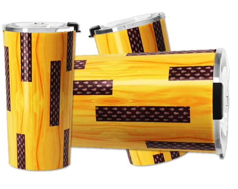 Travel mug for coffee or tea- stainless steel, for women. Yellow, brown. Indian saree design. Artikrti.