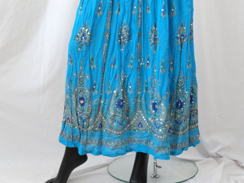 Long, crushed cotton turquoise blue skirt. Indian maxi, mirror work, Crinkled gypsy skirt. Ethnic, boho skirt. From Artikrti.