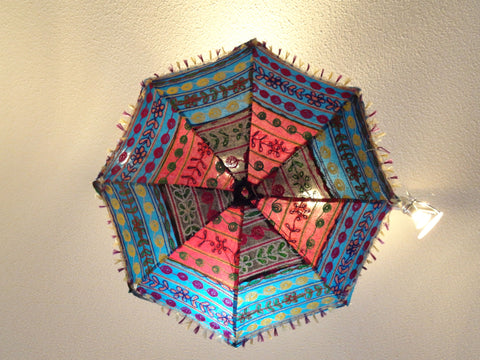 India's Fabric umbrella lamp shade. Colorful Ethnic embroidered ceiling lampshade decor ornament. Ethnic decor idea. From Artikrti