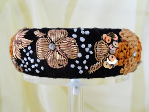 "Beaded bangle bracelet from India. Statement party or wedding broad bracelet bangle. ""Blooms""- Handmade, embroidered velvet bracelet. From Artikrti"