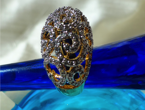 """Cascades"" Ethnic finger ring. Indian finger ring with white stones in waves.  Brass finished gold Party or wedding ring. From Artikrti."