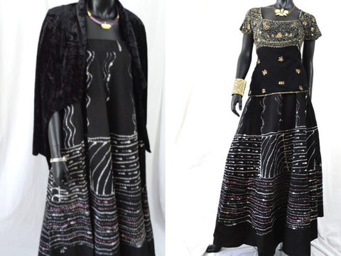 Black, hand painted skirt from India. Indian, cotton, long and wavy, dance, party skirt. From Artikrti