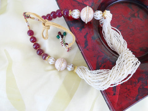 Indian white bead necklace jewellery artikrti