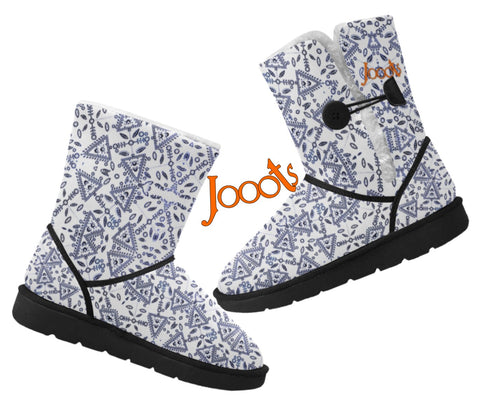 Classic half snow boots for women. Faux fur lined snow shoes-white. Cupid's Arrow. Jooots from Artikrti