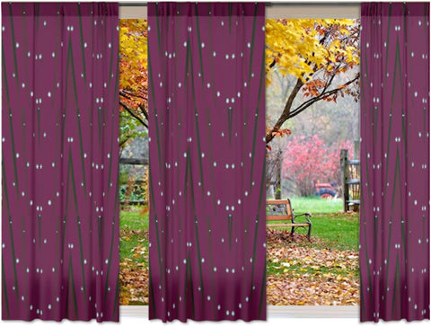 "Home curtains and drapes- wine or maroon color. Unique design style for the living room. ""Star Lights"" from Artikrti"