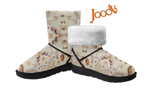 Cozy winter snow boots for women. Soft, comfortable snow shoes. Sequin Glam. Jooots from Artikrti