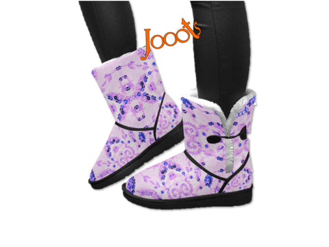 Mid calf snow boots for women. Soft, comfortable snow shoes-purple. Sequin Glam. Jooots from Artikrti