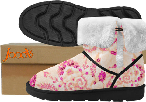 Comfy snow ankle boots for girls. Soft winter shoes-pink. Sequin Glam. Jooots from Artikrti
