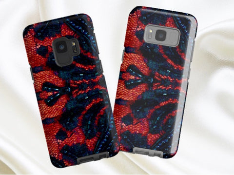 Women's Samsung Galaxy S9  phone case. Indian, unique red and black bead design. Samsung Galaxy S8, S7, S6, Edge options. From Artkrti.