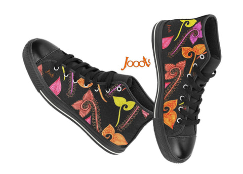 Cool high tops for girls. Sneakers or keds or casual shoes. Black red violet pink green. Feather Floats. Jooots from Artikrti