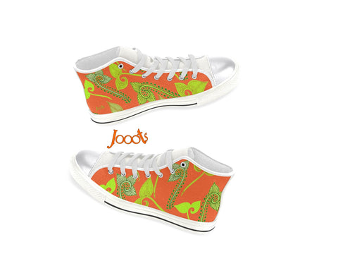 Girls orange athletic shoes- high tops. Indian henna design. Sneakers or keds. Feather Floats. Jooots from Artikrti