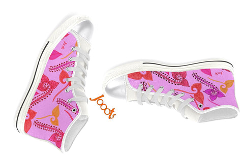 Pink high tops sneakers- henna design for girls.  Canvas shoes or keds. White blue pink purple turquoise. Feather Floats. Jooots from Artikrti