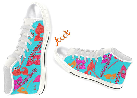 Girls high tops canvas shoes- turquoise henna design from India. Sneakers or keds. White blue pink purple turquoise. Feather Floats. Jooots from Artikrti