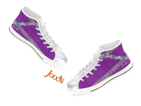 "Girls Unique high tops sneakers. Cool keds with ethnic Indian design. Purple, Pink, Blue. ""Anklet Series1"". Jooots from Artikrti"