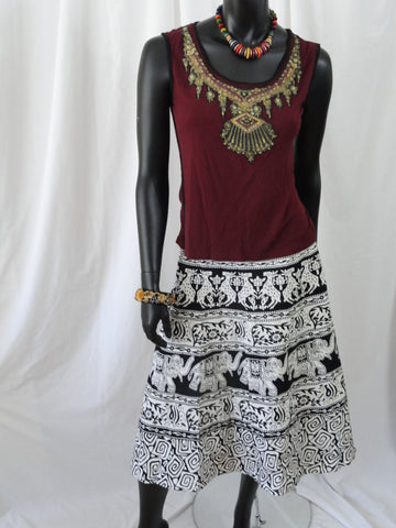 Indian Women Wear Traditional Desine Print Cotton Wrap Around Skirt