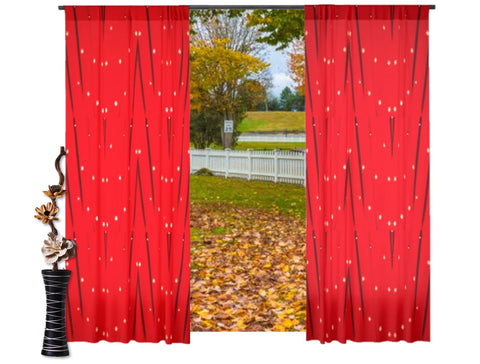"Decorative curtains and drapes- X'mas red. Drapery panels. Unique design style ""Star Lights"" from Artikrti"