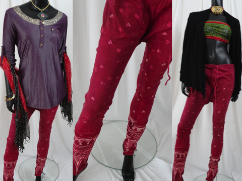 red yoga leggings or capris or pants gypsy boho artikrti3