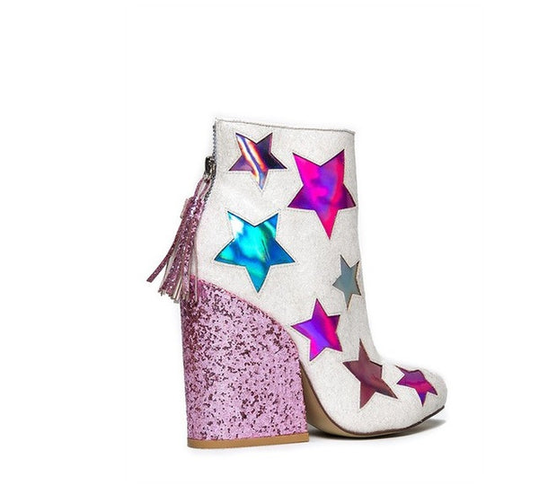 shining stars sequined ankle Boots
