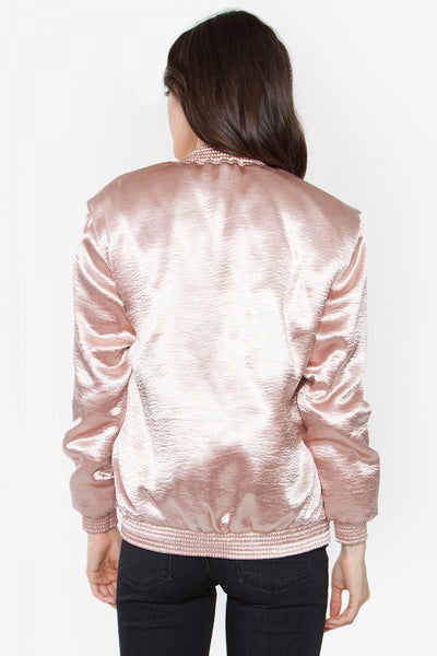 Sweet Stuff Satin Bomber Jacket