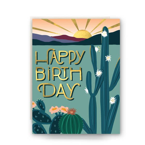 GOLD FOIL CACTUS BIRTHDAY CARD