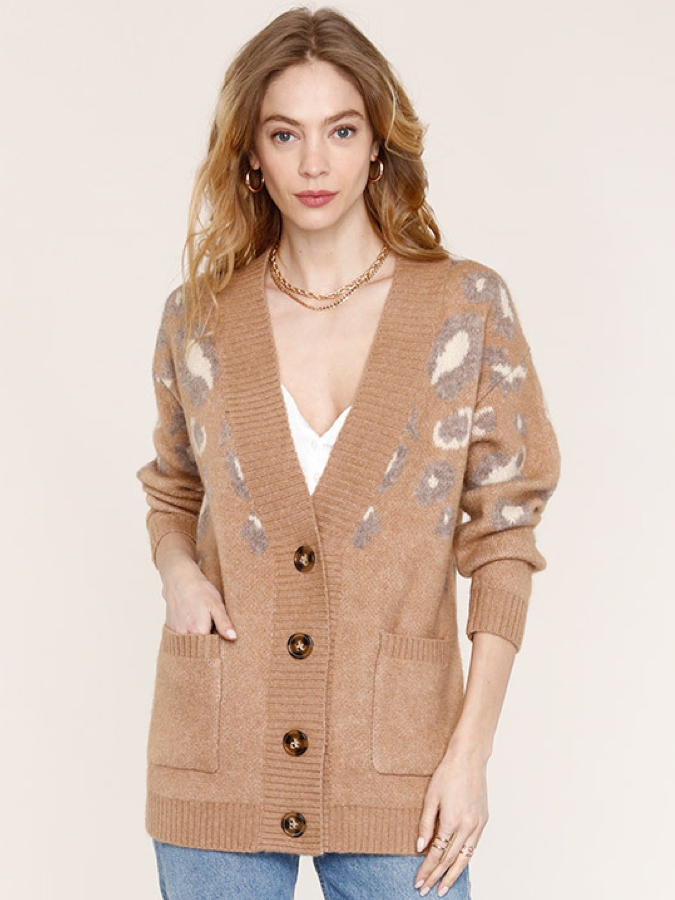 EVETTE KNIT CHEETAH CARDIGAN