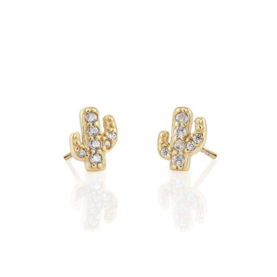 GOLD CACTUS PAVE STUD EARRINGS